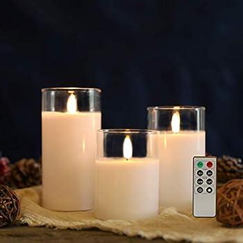 JHY DESIGN Lot de 3 Bougies sans flamme en cire de verre Bougies LED à piles scintillantes avec minuterie de télécommande à 8 touches pour la noce de noce (pointe en forme de flamme pivotée)