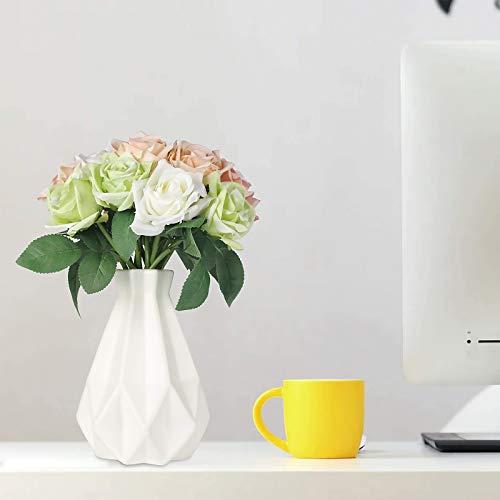 King Style Nordische Vase, Plastikvasen für Blumen, langlebige Moderne dekorative Blumenvase für Wohnzimmer/Büro/Zuhause/Hochzeit (Weiß)