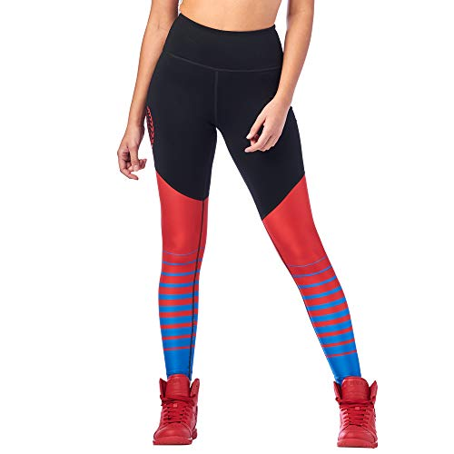 Zumba Workout High Waist Leggings Stilvoll Fitness Gym Kompression Sporthose Damen, Bold Black 5, M