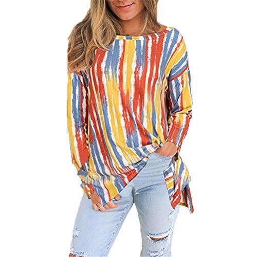 ZFQQ Top de Camiseta de Manga Larga a Rayas Sueltas Multicolor Casual para Mujer de otoño e Invierno