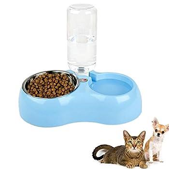 Par rechel Pet Feeder Distributeur automatique 2 en 1 biberon et d'arrosage avec distributeur de nourriture Pet Feeder, bouteille d'eau et gamelle en acier inoxydable pour chien et chat