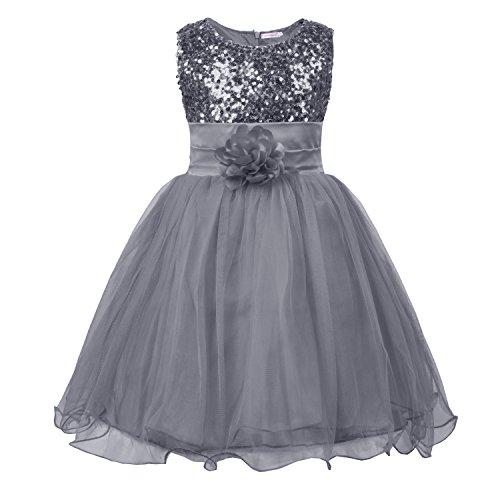 JerrisApparel Kleines Mädchen Paillette Blume Hochzeit Bankett Party Kind Kleid (7 Jahren, Grau)