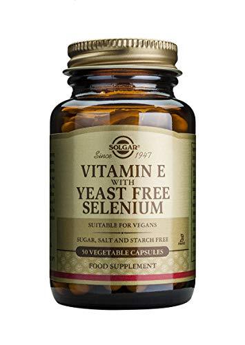Solgar Vitamina E con Selenio (sin levadura) para la protección de las células contra el daño oxidativo - 50 cápsulas vegetales