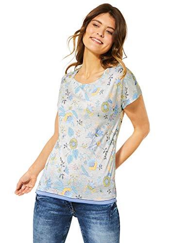 Cecil Damen 315166 TOS Shape T-Shirt, Off White Melange, Large