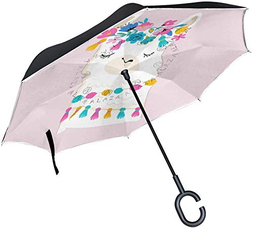Double Layer Inverted Umbrella Niedlichen Tier Lama Reverse Umbrella Large Windproof UV-Schutz Sun Car Umbrellas