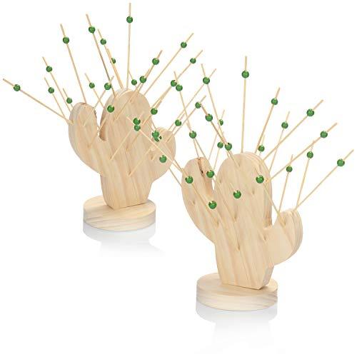 COM-FOUR® 56-teiliges Partyspießeset, Cocktailspieße aus Holz für Häppchen, Snacks, Fingerfood, Anti-pasti und Tapas, Käseigel in Kaktusform (56-teilig - Kaktus)