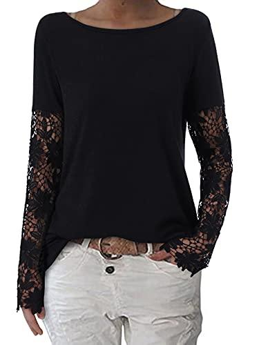 ZANZEA Mujer Camisetas Tallas Grandes Cuello Redondo Manga Larga Pullover Casual Tops Jersey Holgada Encaje Negro L