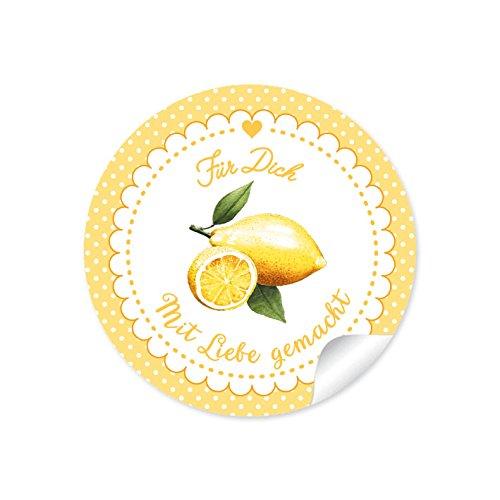 """24 STICKER: Süße Aufkleber in Gelb mit Punkten, Herz und liebevoll illustrierter Zitrone\""""Für Dich - mit Liebe gemacht\"""" • Zum Dekorieren von Gastgeschenken • Format 4 cm, rund, matt"""