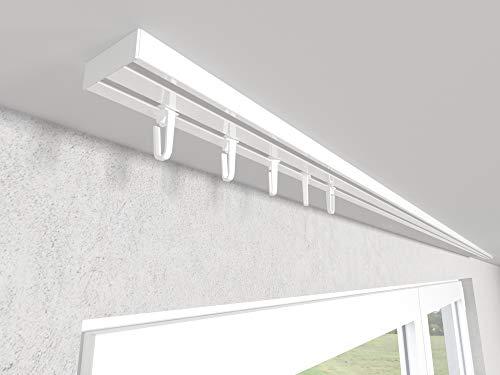 Market-Alley Vorhangschiene Aluminium Weiß Gardinenschiene ; 2-/ 3-/ 4-läufig ; 120cm-600cm. Für Kräuselband Gardinen oder Schiebevorhang (2-läufig ; 160cm ; mit Faltenlegehaken)