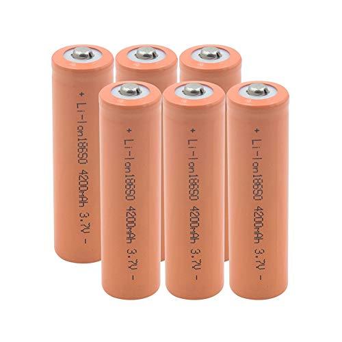 softpoint BateríAs De Iones De Litio De Descarga Estable 18650, Celda De Reemplazo De 3.7 v 4200mah para Timbre De Luz Led 6pieces
