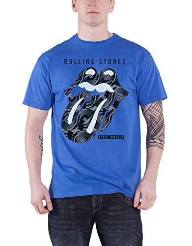 The Rolling Stones T Shirt Steel Wheels Album Tongue Logo offiziell Herren Blau