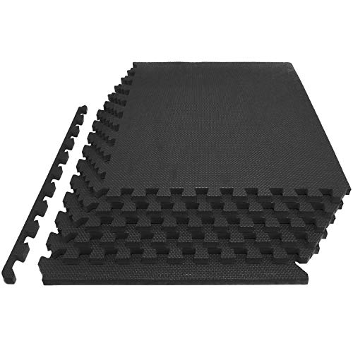 """Prosource Fit Extra Thick Puzzle Exercise Mat 1"""", EVA Foam Interlocking Tiles for Protective, Cushioned Workout Flooring for Home and Gym Equipment, Black"""