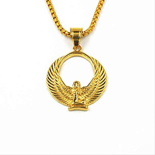 Fabulosos Collares con Colgante De Diosa Egipcia, Cadenas De Alas De Color Dorado, Babero Ankh, Joyería Pagana Wicca, Religión De Egipto