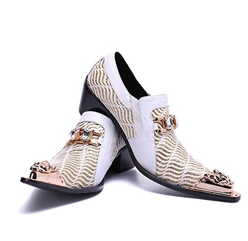 Phil Beauty Nuevos Zapatos Británicos para Hombres Negocio Punta De Metal Puntiaguda Low Top Talón Plano Resbalón Masculina Oxfords Casual Formales Impresos Zapatos,Eu40