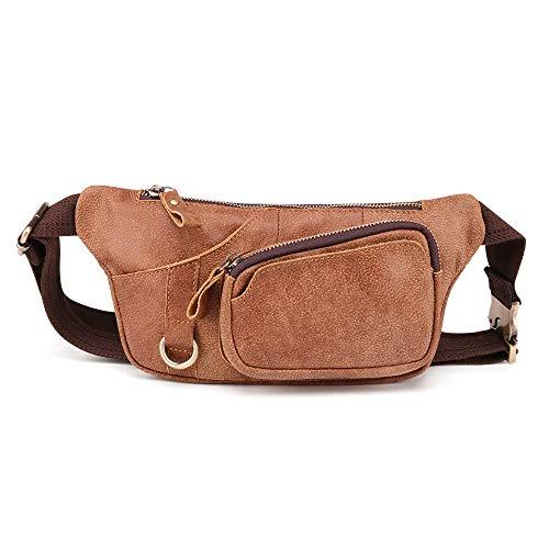 BAIGIO Riñonera de Cuero Hombre Mujer de Moda Bolsa Cinturón Piel Vintage Bolsos para Teléfonos Bandolera Multifuncional Bolsillos Ajustable Bolso de Cintura Casual Viajar Acampada (Marrón)
