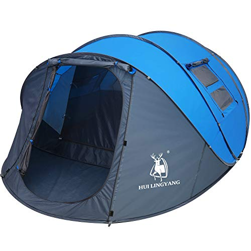 6 Person Easy Pop Up Tent,12.5'X8.5'X53.5'',Automatic Setup,Waterproof, Double Layer,Instant Family Tents for Camping,Hiking & Traveling,Green,Blue