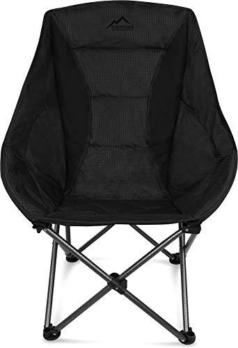 normani Deluxe Campingsessel Relaxsessel XXL Moonchair Schalensitz- Comfort Camping-Stuhl - Gepolsterter Outdoor Klappstuhl, Traglast: 150 Kg (330 lbs) Farbe Black