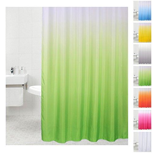 Sanilo Duschvorhang, viele einfarbige Duschvorhänge zur Auswahl, hochwertige Qualität, inkl. 12 Ringe, wasserdicht, Anti-Schimmel-Effekt (180 x 200 cm Grün)