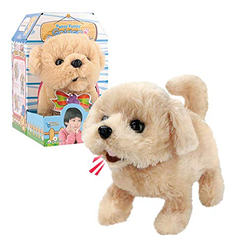 Liberty Imports Plush Golden Retriever Toy Puppy Electronic Interactive Pet Dog - Walking, Barking, Tail Wagging, Stretching Companion Animal for Kids