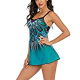Traje de baño de dos piezas con estampado informal a la moda, con tiras en la espalda, con sujetador push up ajustable y copas suaves, Mujer, azul, large