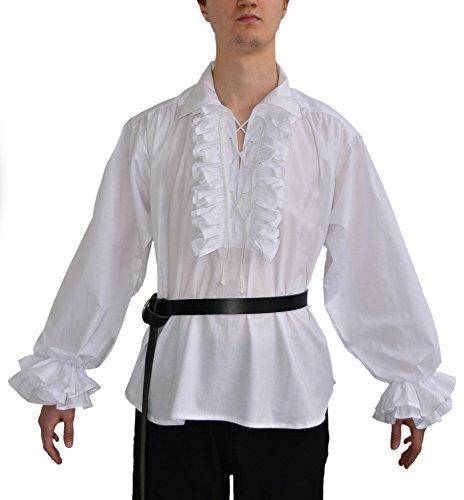 HEMAD Camisa de algodón renacentista para hombres - Gran cuello y encaje frontal – S-XXXL Blanco & Negro