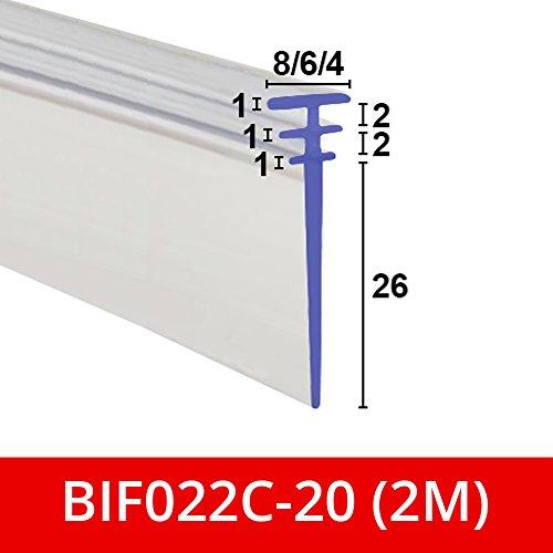 Duschdichtung aus Kunststoff mit dreifachem T-Profil, weich, transparent, für Falttüren, geeignet für Kanäle von 4, 6oder 8mm, BIF022C