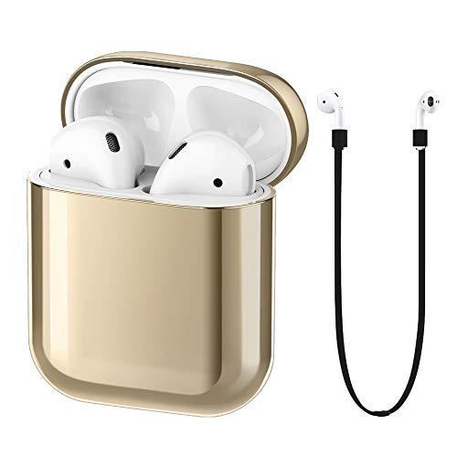FRTMA Kompatibel mit Apple Airpods Ladebehälter PC-Schutzhülle und Anti-Loss Strap Apple Airpods 1. Generation Zubehörkits(Champagner Gold)