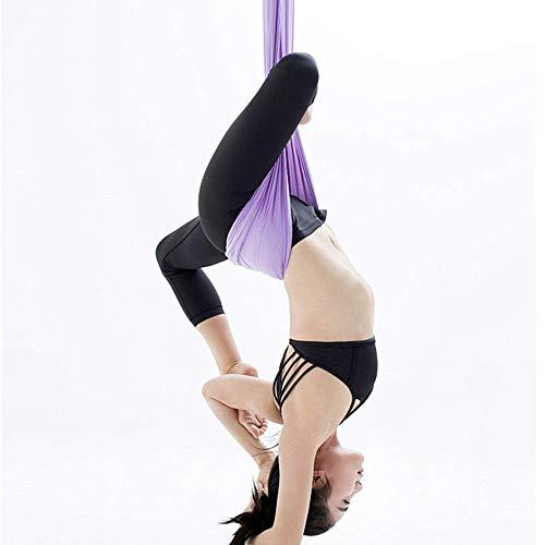 Yoga indoor anti-zwaartekracht hangmat paars hangmat stretch hangmat draagriem stretch doek satijn (kleur: paars, afmeting: 500x280cm)