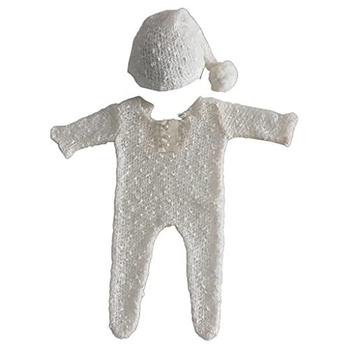 S-TROUBLE 2Pcs Newborn Photography Requisiten Anzug Strampler Hut Set Langarm Jumpsuits Outfit