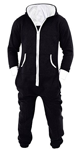 Mens Jumpsuit Non Footed Pajama Unisex One Piece Playsuit Adult Onesie With Hood XX-Large Black