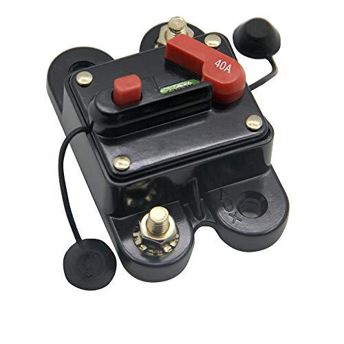 RKURCK 40A 12V-24V DC Circuit Breaker with Manual Reset for Trolling Motor Auto Car Marine Boat Bike Stereo Audio
