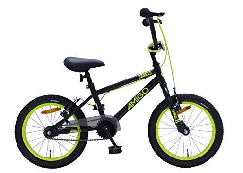 Amigo Danger – Bicicleta infantil para niños – 16 pulgadas – con frenos de mano y manillar acolchado – Bicicleta BMX – a partir de 4 – 6 años – negro/amarillo