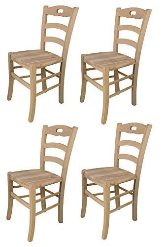 Tommychairs - 4er Set Stühle Savoie für Küche und Esszimmer, robuste Struktur aus poliertem Buchenholz, unbehandelt und 100% natürlich, Sitzfläche aus poliertem Holz