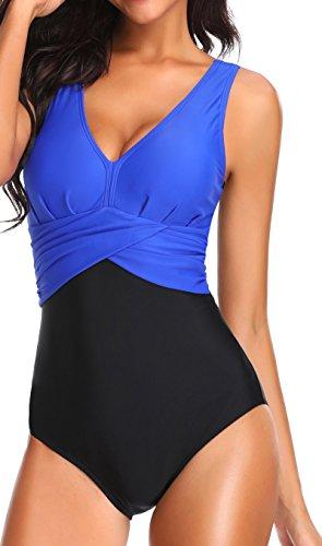 PANOZON Damen Badeanzug mit V-Form Ausschnitt bauchweg Monokini Rückenfrei Cut Out Push-up Bikini Elegant Grace U-Back (Navy Blau, XL)
