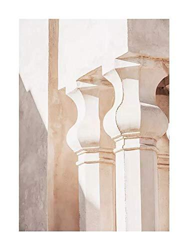 JHGJHK Carteles e Impresiones Modernas, Arquitectura Antigua de Mezquita, Arquitectura clásica marroquí, Arte de Pared de Puerta, Pintura al óleo Mural de decoración de Dormitorio (Imagen 2)