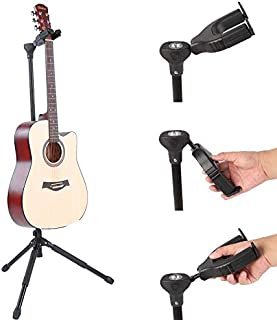 MusicStand PortableMusicStand Portable Practical Foldable Durable Vertical Single Guitar Tripod Stand Holder for Folk Electric Guitar Bass by RiToEasysports