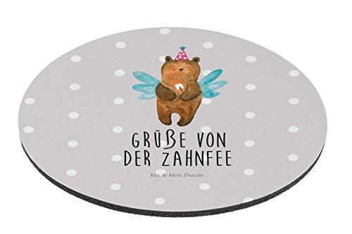 Mr. & Mrs. Panda Maus, Mousepad, Rund Mauspad Zahnfee Bär mit Spruch - Farbe Grau Pastell