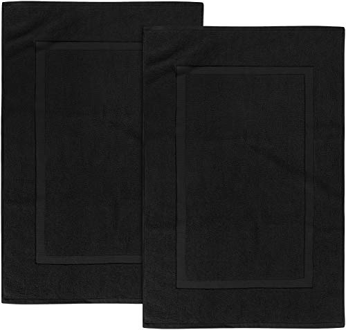 Utopia Towels Cotton Banded Bath Mats, Black, [Not a Bathroom Rug], 21 x 34 Inches, 100% Ring Spun Cotton - Highly Absorbent and Machine Washable Shower Bathroom Floor Mat (Pack of 2)