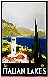 SIRIUSART Lienzos Cuadros Decorativo Cartel de la impresión del Arte de los Lagos Italianos de Viaje decoración de la Pared del hogar 60x90cm
