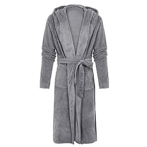 YUHUALI Herren Winter verlängert Plüsch Schal Bademantel Home Kleidung Langarm Robe Coat Bademantel Grau XXXL