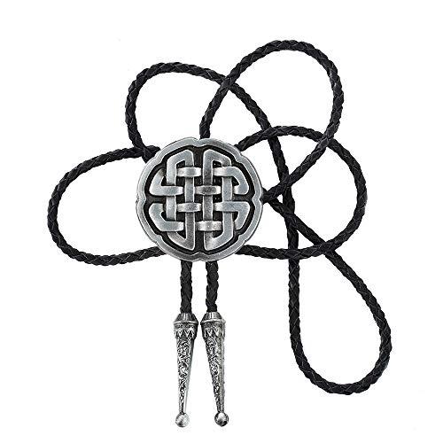 xinqida Fashion Vintage Style Bolo Tie Celtic Trinity Cross Knot Cowboy Western Bolo Tie,Gun black, Large