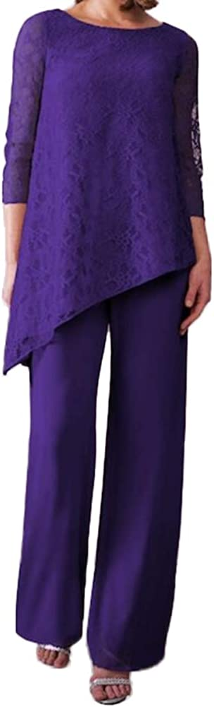 Women's Lace 2 Pieces Elegant Mother of The Bride Pant Suits for Wedding Gown Outfits Plus Size