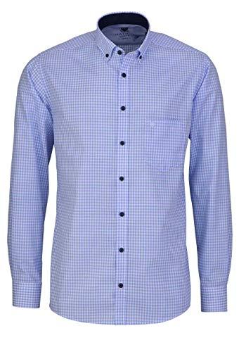 Hatico Regular Fit Hemd Langarm Button Down Kragen Karo blau Größe L