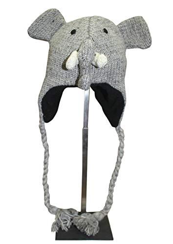 Sherpa Love Hand Knit Unisex Wool Animal Beanie Hat Cap Ear Flap Fleece Lined Nepal (Child, Elephant)
