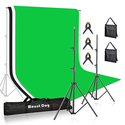 MOUNTDOG Photo Backdrop Stand Kit 10x6.5ft Background Stand Support System with 3 Muslin Backdrop Kits(White Black Chromakey Green Screen Kit) and Carry Bag for Portrait,Photo Video,Photography Studio
