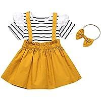 DaMohony - Falda de Manga Corta con Volantes de Rayas + Falda de Tirantes + Diadema 3 Piezas de Ropa para niñas