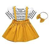 DaMohony - Conjunto de falda de manga corta con volantes y rayas + falda de tirantes + diadema, 3 complementos de ropa para niñas