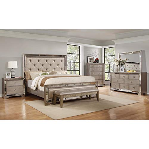 Best Master Furniture Ava Mirrored 6 Pcs Bedroom Set With Bench, Cal. King, Silver/Bronze