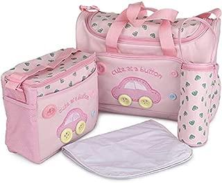 xcluma Baby Diaper Nappy Changing Baby Diaper Bag Mother Bag Mummy Bag Handbag (4 Pcs Set- Pink)