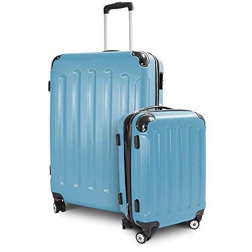 BERWIN Kofferset M + XL 2-teilig Reisekoffer Trolley Hartschalenkoffer ABS Teleskopgriff Modell Stripes (Himmelblau)